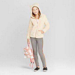 Girls' Bear Hoodie- Cat & Jack- Cream,  Medium